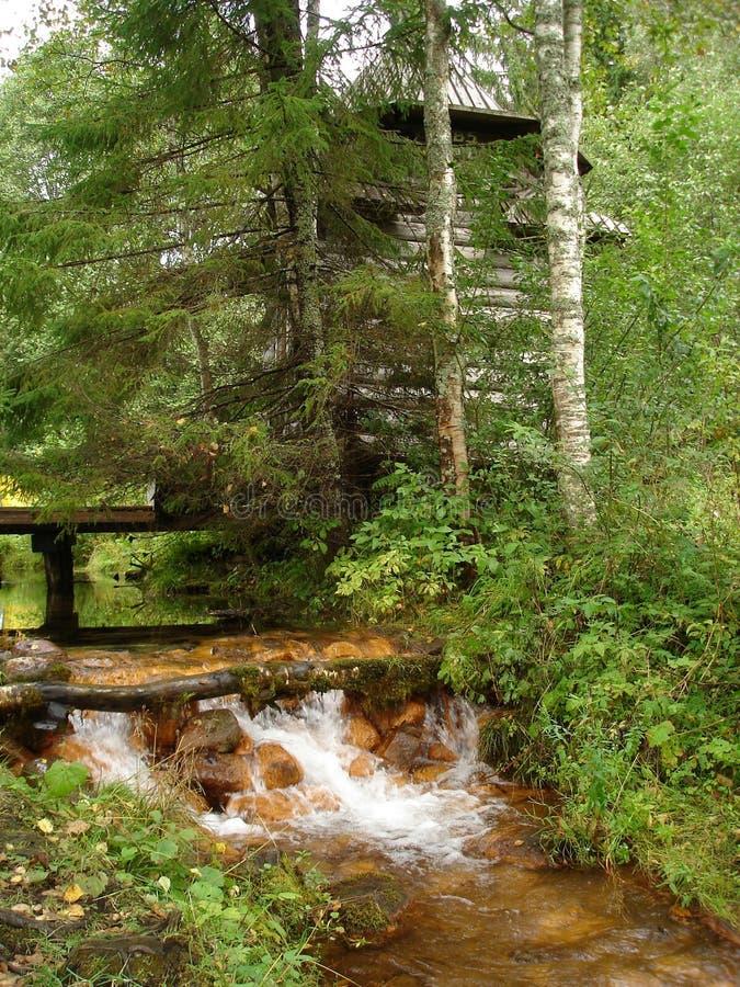 Gammalt kapell vid en ström i skogen royaltyfria bilder