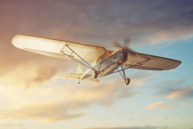 Gammalt klassiskt flygplan arkivfoton