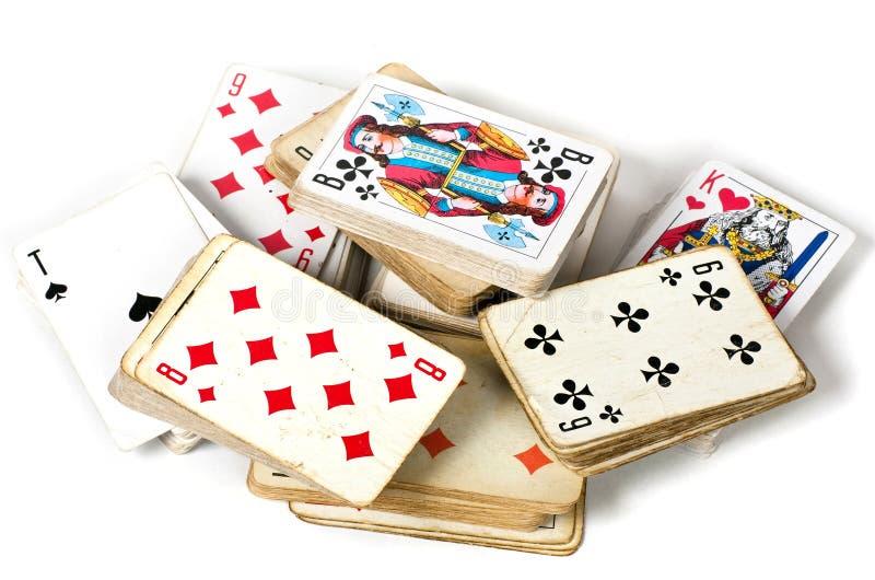 Gammalt kortspel royaltyfri fotografi