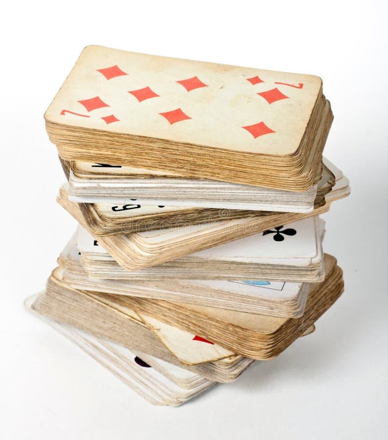 Gammalt kortspel royaltyfri bild