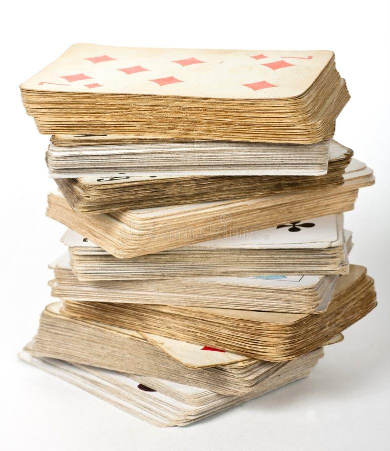 Gammalt kortspel arkivbild