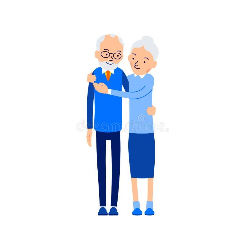 Gammalt krama för par Ställningsslut för äldre folk förbi Mormorkramar stock illustrationer