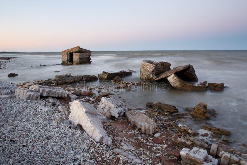 Gammalt kust- fördärvar royaltyfri fotografi