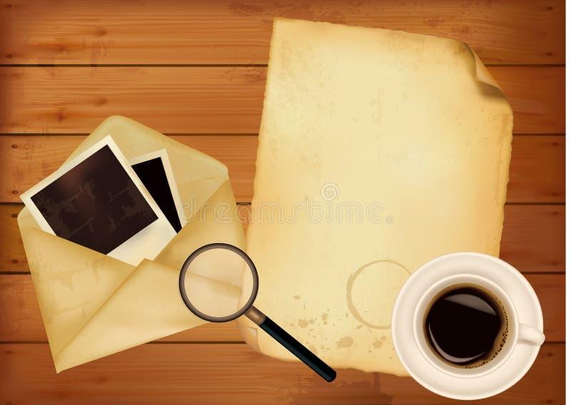 Gammalt kuvert med foto och gammalt papper på träb stock illustrationer