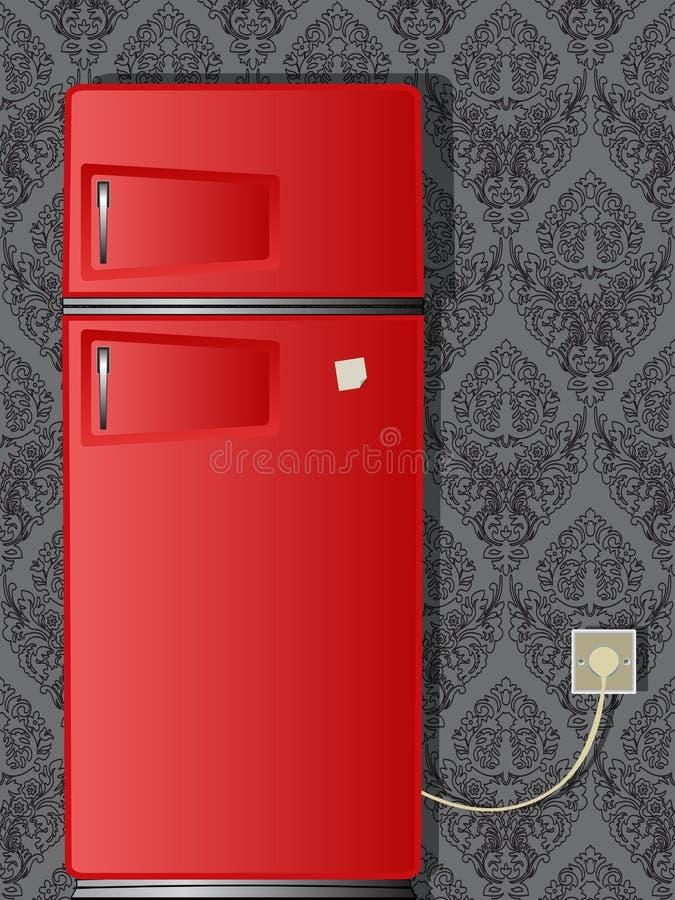 Gammalt kylskåp stock illustrationer