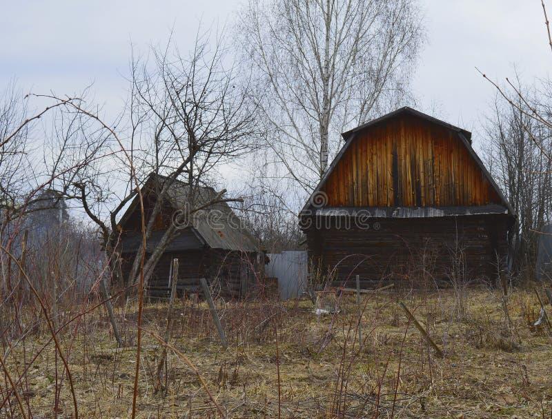 Gammalt ladugård, hus som är lantligt, trä, lantgård, land, övergett som är trä, himmel, kabin, landskap, byggnad, gräs som är la royaltyfri foto