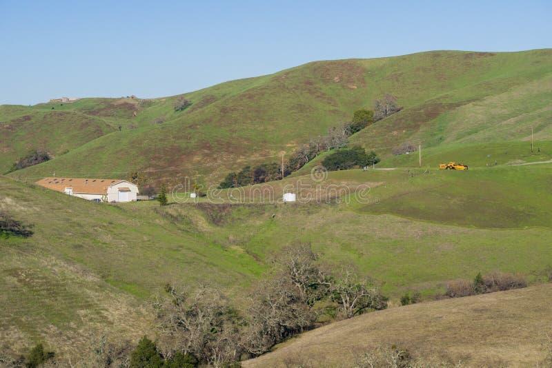 Gammalt lantgårdhus, södra San Francisco Bay, Kalifornien arkivbild