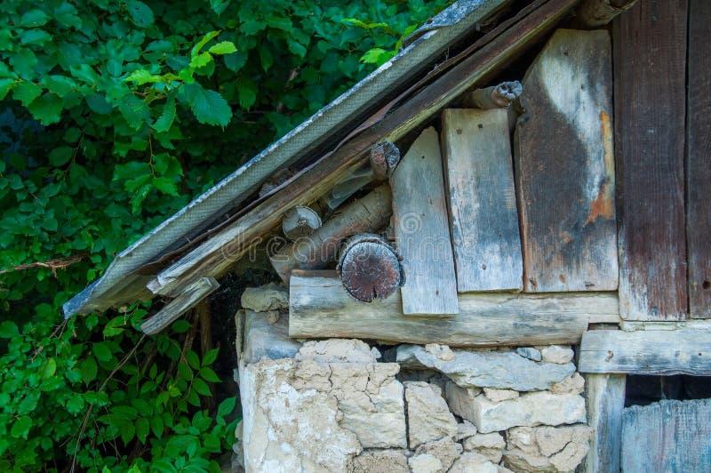 Gammalt litet hus med ett trätak I skogen nära gröna träd fotografering för bildbyråer