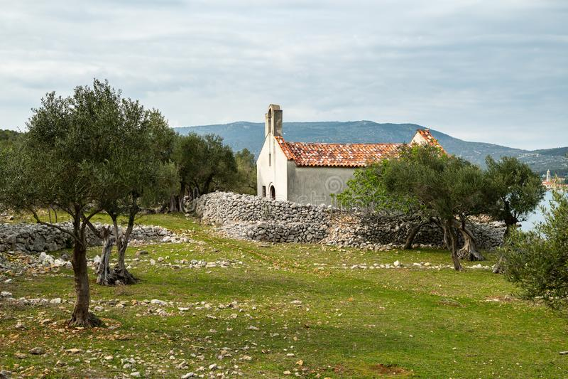 Gammalt litet kapell i en olivgrön dunge vid havet royaltyfri foto