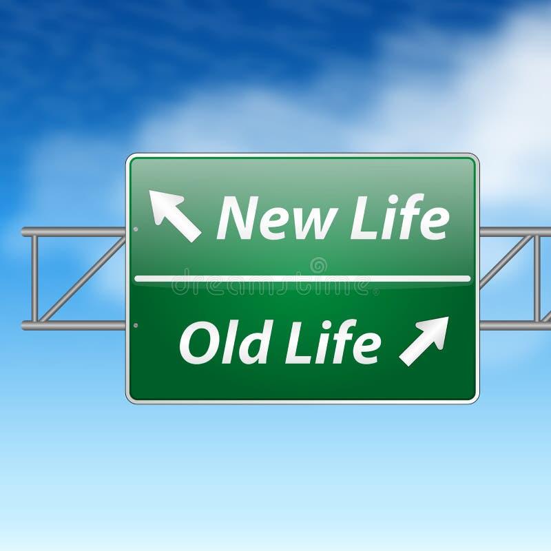 Gammalt livstidsvägmärke för ny livstid royaltyfri illustrationer