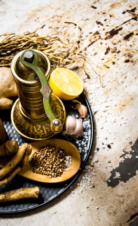 Gammalt mala med kryddor och örter på magasinet royaltyfri bild
