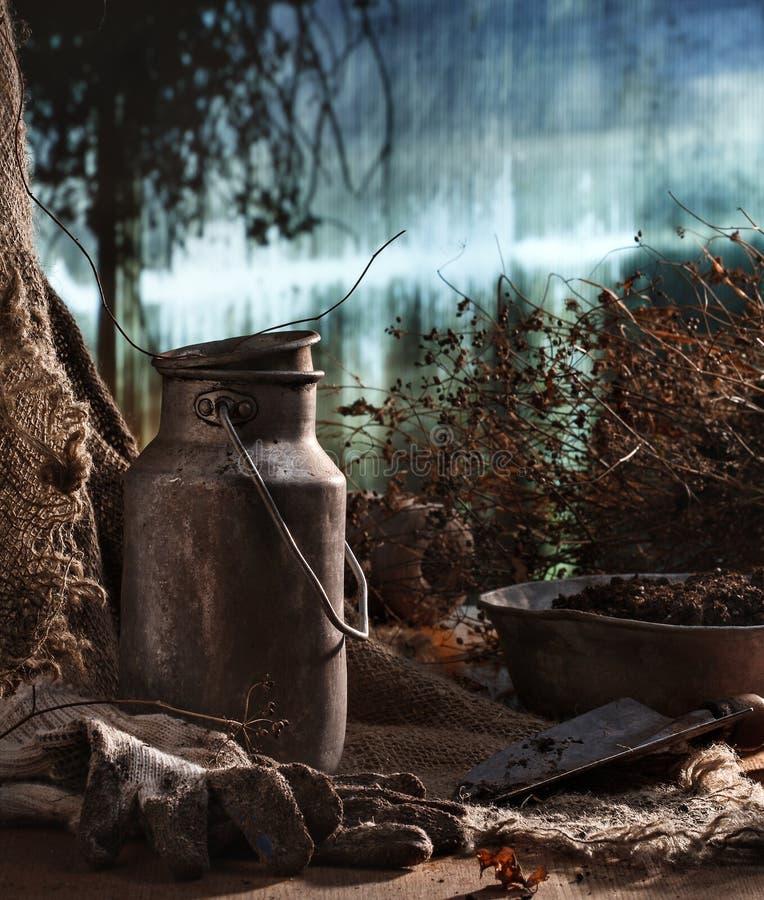 Gammalt material i drivhus royaltyfri fotografi