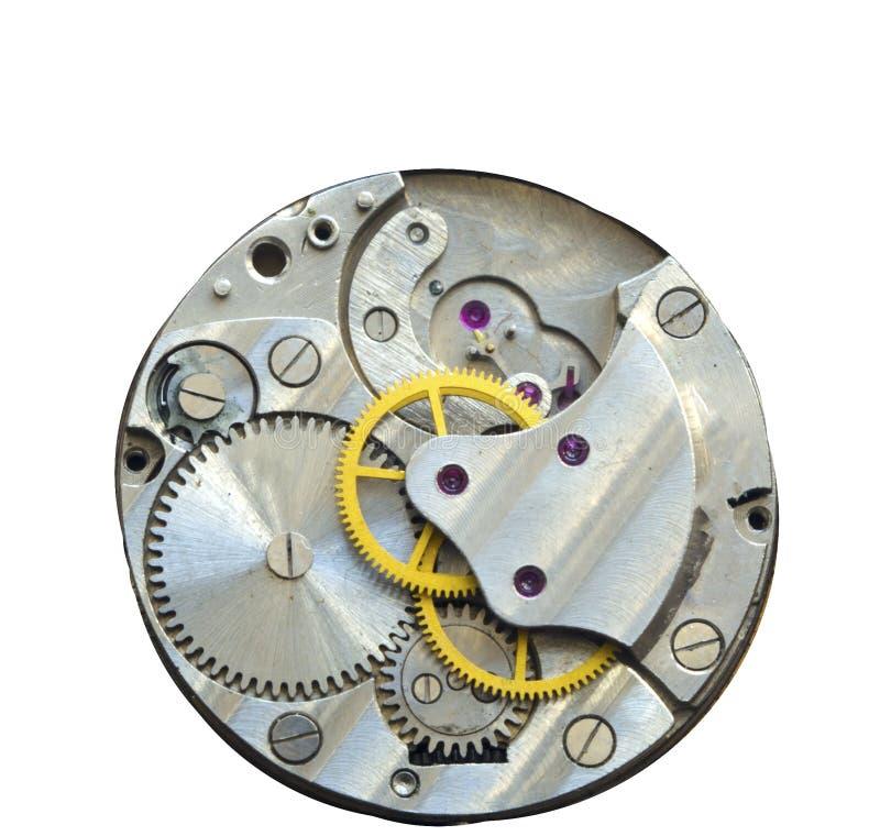 Gammalt mekaniskt för urverk Slut upp, makroskott Tappning utrustar VI royaltyfri fotografi