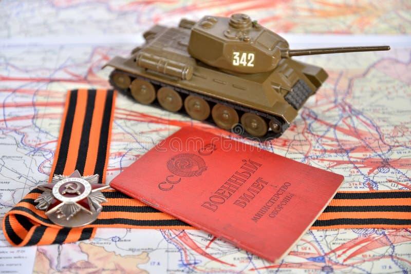 Gammalt militärt kort av USSR, beställning av det patriotiska kriget i St arkivfoto