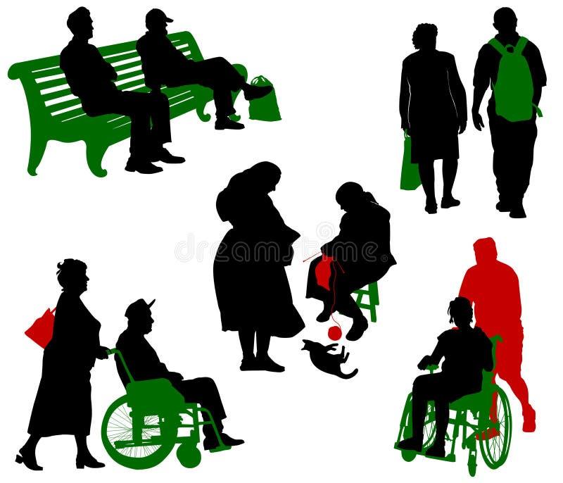 Gammalt och inaktiverat folk. royaltyfri illustrationer