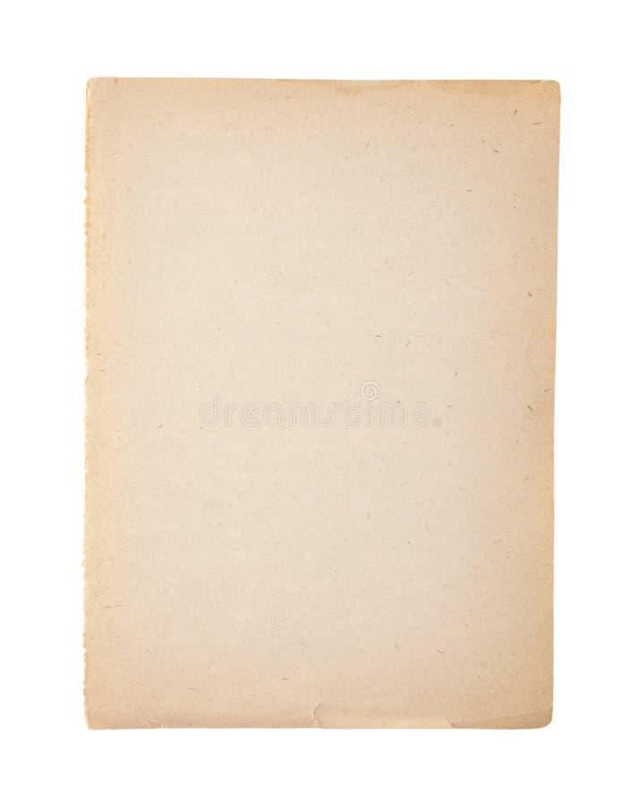 Gammalt och smutsigt ark av papper på vit arkivfoton