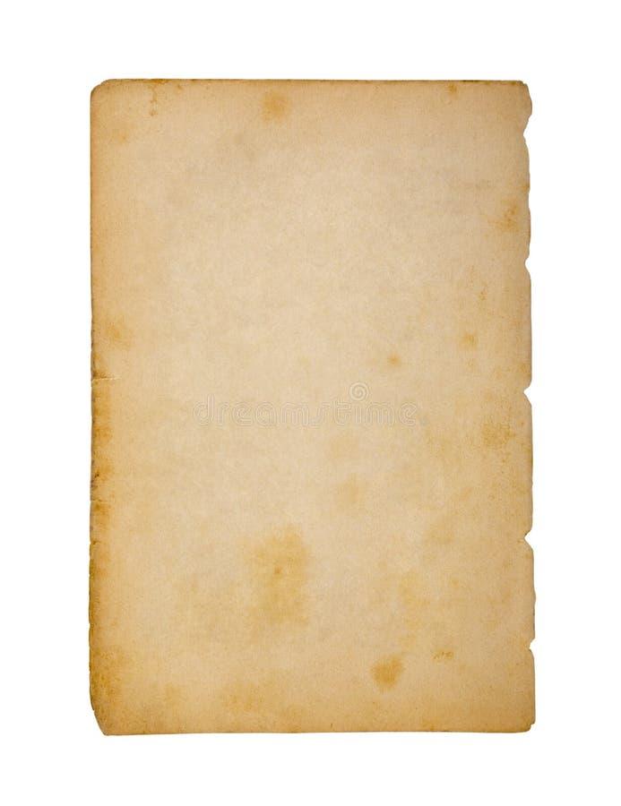 Gammalt och smutsigt ark av papper som isoleras på vit bakgrund arkivfoton