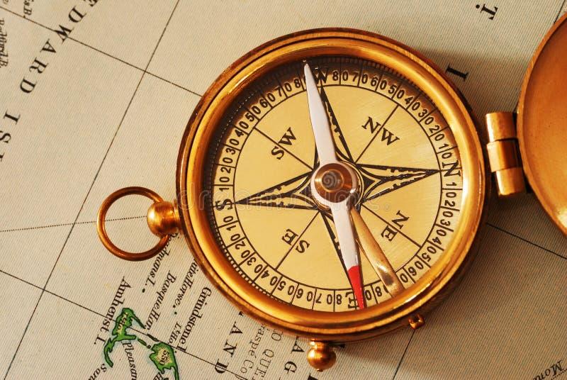 gammalt over för antik mässingskanadensisk kompassöversikt royaltyfria bilder