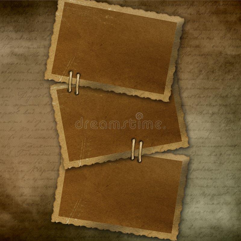 gammalt papper för 3 ram royaltyfri illustrationer