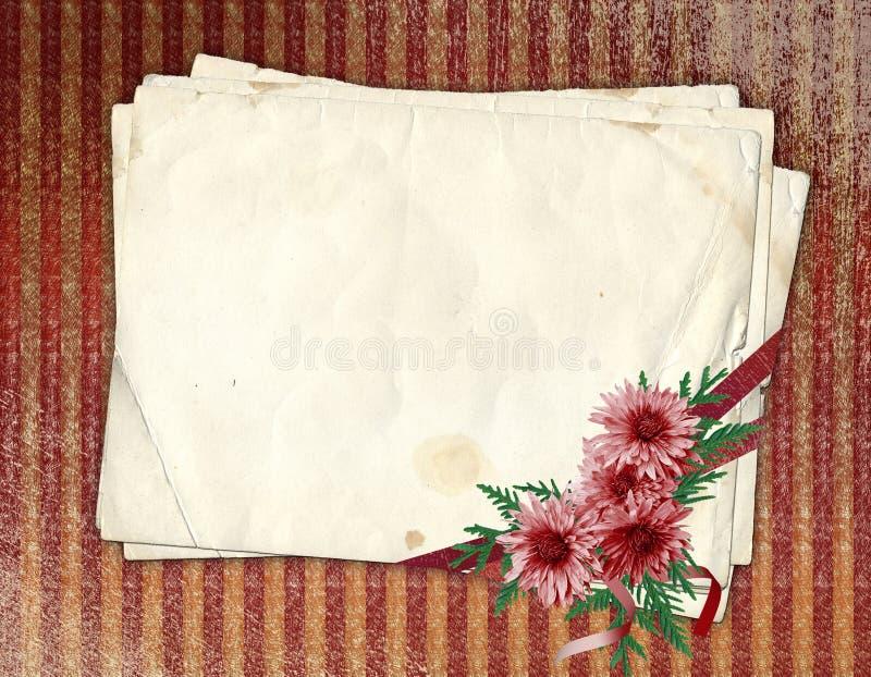 gammalt papper för chrysanthemum stock illustrationer