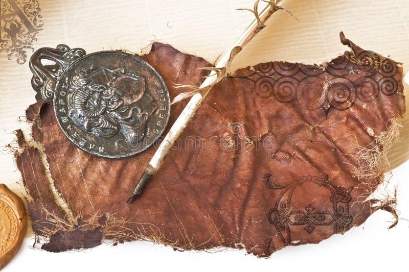 gammalt papper för fjäder royaltyfri illustrationer