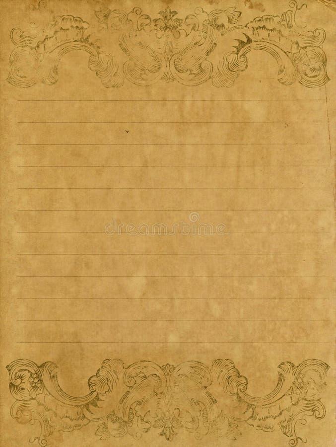 gammalt papper för grungebokstav arkivfoto