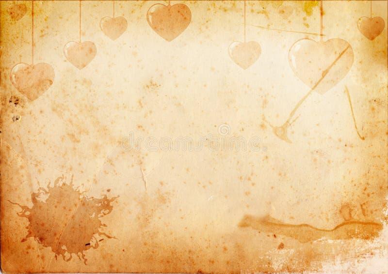 gammalt papper för hjärtor royaltyfri illustrationer