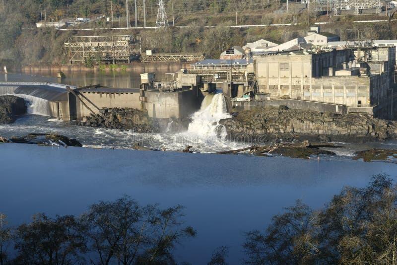 Gammalt papper maler Willamette faller den Oregon staden arkivfoton