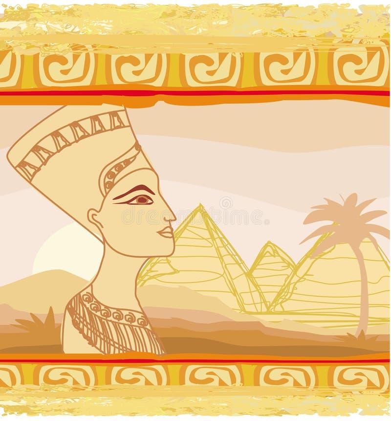 Gammalt papper med den egyptiska drottningen stock illustrationer