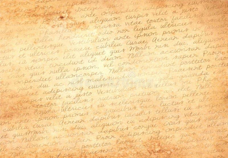 Gammalt papper med latinsk text arkivbild