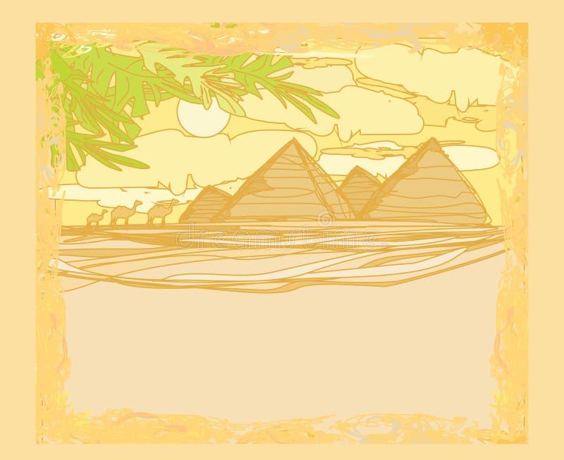 Gammalt papper med pyramider giza stock illustrationer