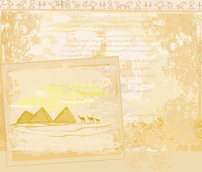 Gammalt papper med pyramider giza vektor illustrationer