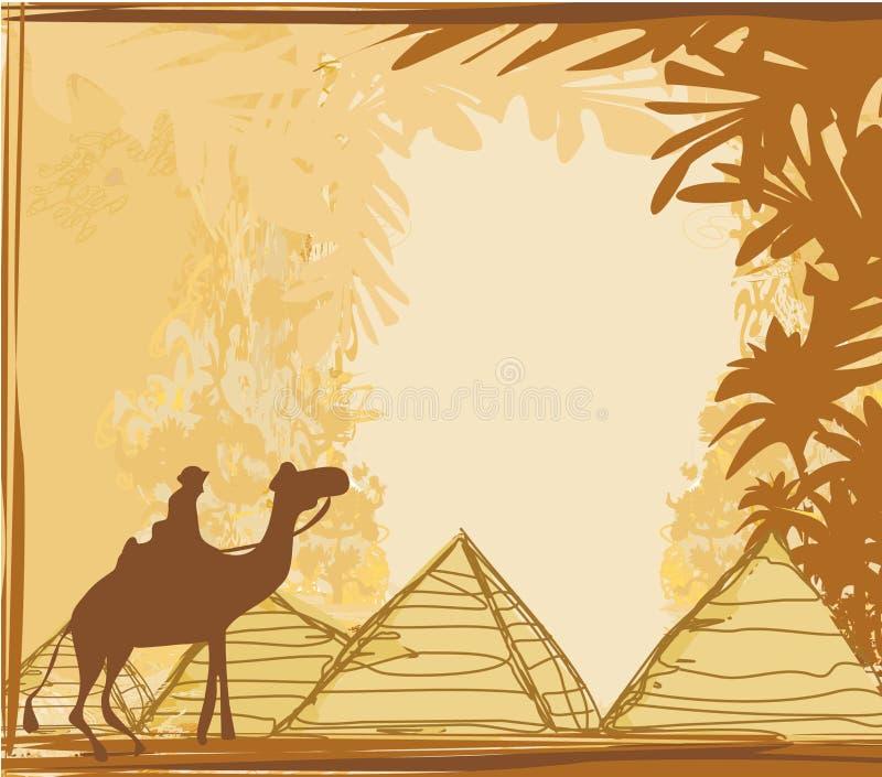 Gammalt papper med pyramider giza och kamlet vektor illustrationer