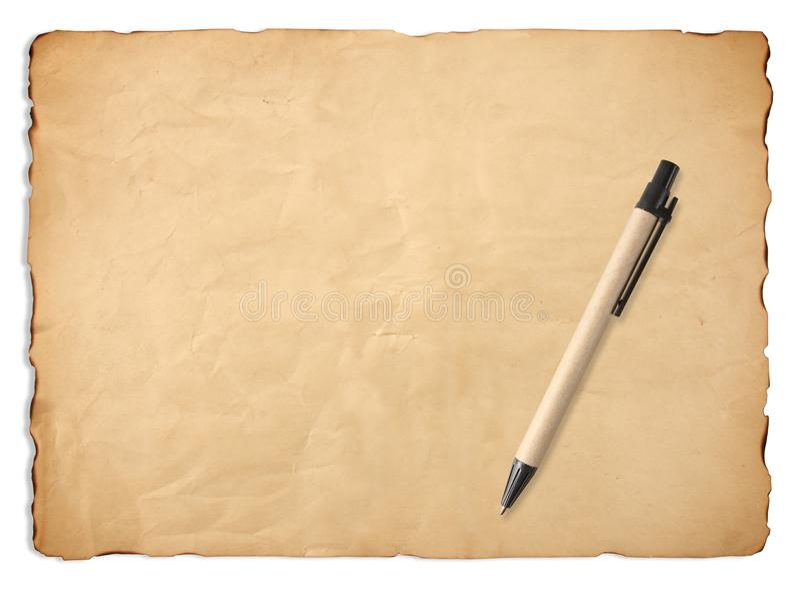 Gammalt pappers- ark med pennbakgrund arkivbild