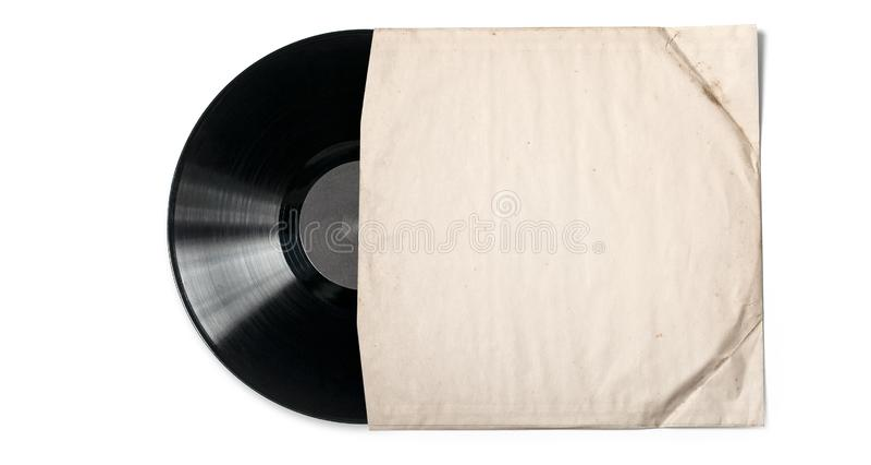 Gammalt pappers- fall f?r vinylrekord royaltyfria foton