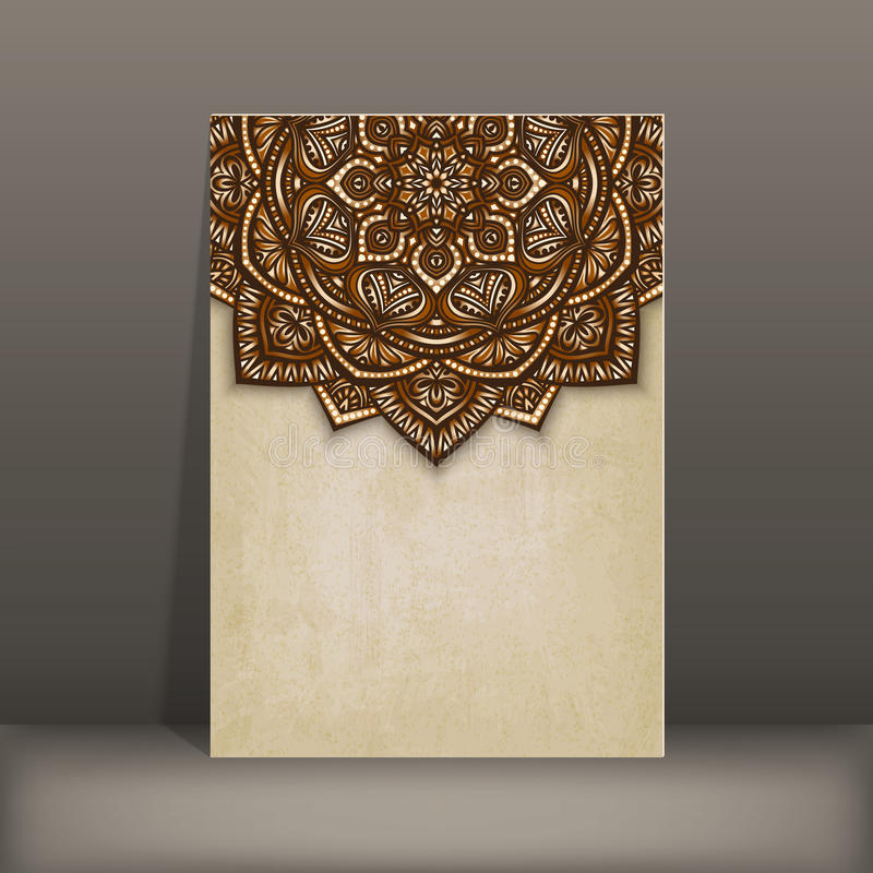 Gammalt pappers- kort med den bruna blom- runda modellen royaltyfri illustrationer