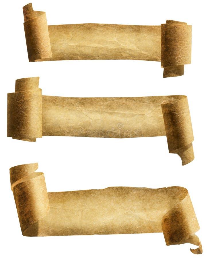 Gammalt pappers- snirkelband, symbol för pergamentrulle, krullad legitimationshandlingar royaltyfri bild