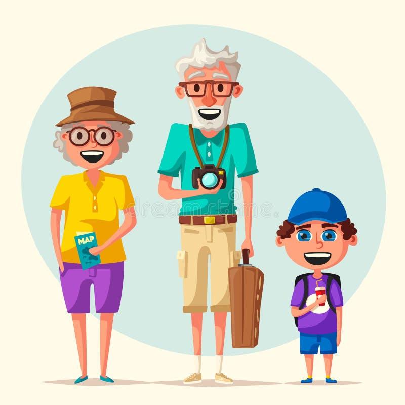 Gammalt par och barnbarn i lopp Resa av morföräldrar den främmande tecknad filmkatten flyr illustrationtakvektorn royaltyfri illustrationer