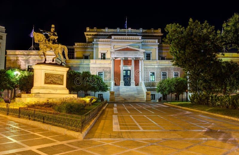 Gammalt parlamenthus på natten, Aten, Grekland fotografering för bildbyråer