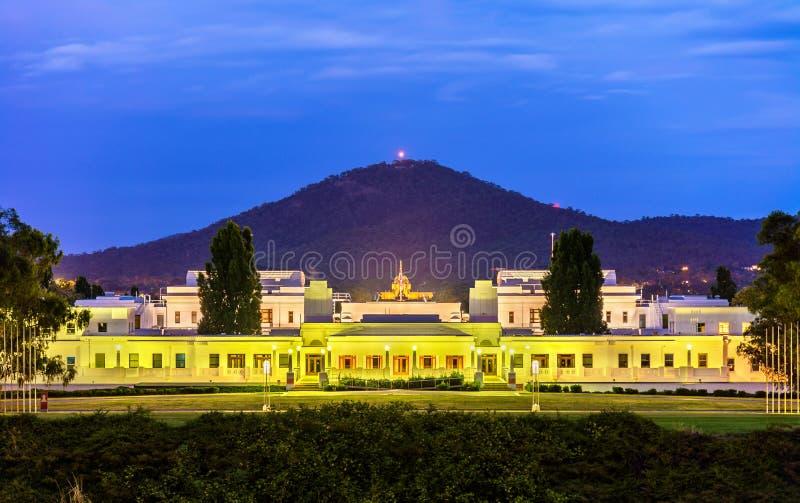 Gammalt parlamenthus som tjänas som från 1927 till 1988 Canberra Australien royaltyfria foton