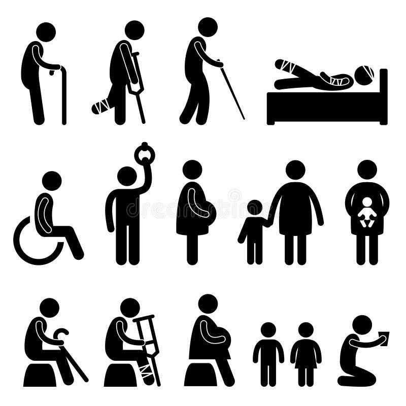 gammalt patient gravid för blind disablehandikappman royaltyfri illustrationer