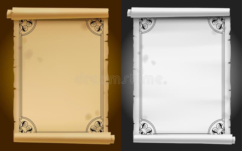 Gammalt pergament och pappers- baner med den svarta dekorativa ramen stock illustrationer