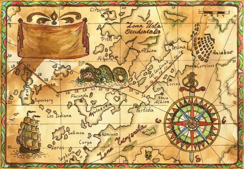 Gammalt piratkopiera översikten med skeppet, banret och rosen av vindar royaltyfri illustrationer