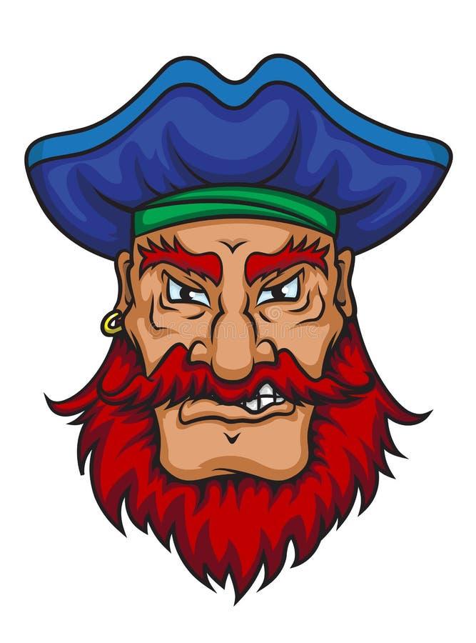 Gammalt piratkopiera kaptenen vektor illustrationer