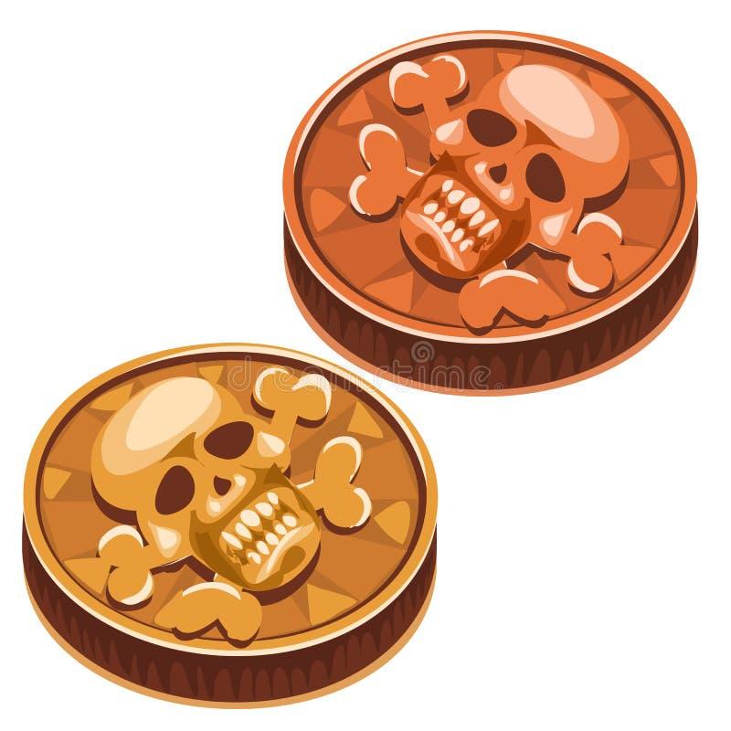Gammalt piratkopiera myntet med skallen och korslagda benknotor vektor royaltyfri illustrationer
