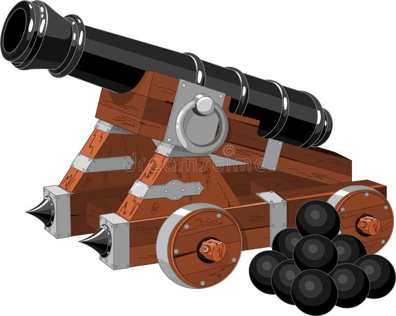 Gammalt piratkopiera shipkanonen stock illustrationer