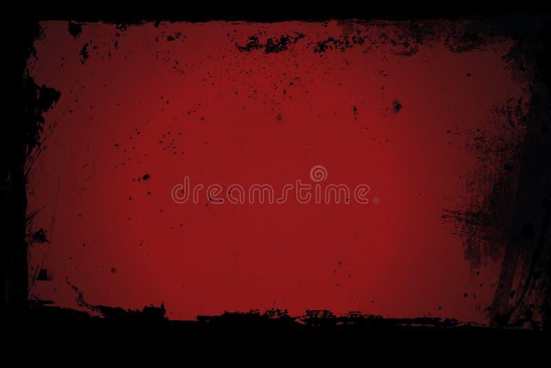 Gammalt rött fönster med smutsiga ramar arkivbilder