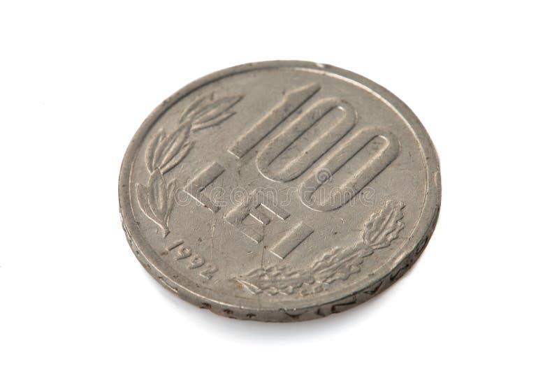 Gammalt rumänskt mynt - 100 Lei royaltyfri fotografi