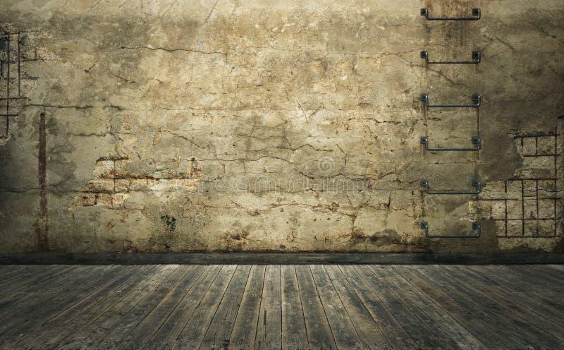 Gammalt rum med den skadade betongväggen och träplankagolvet 3d vektor illustrationer