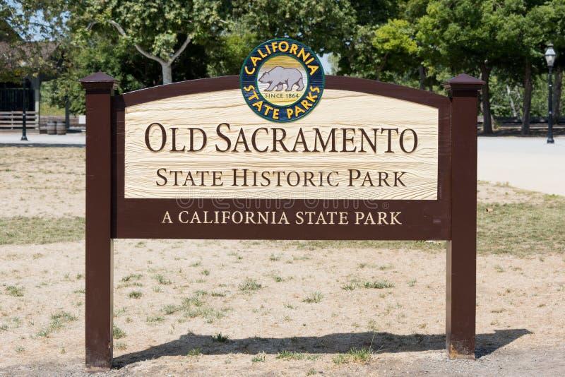 Gammalt Sacramento delstatsparktecken royaltyfri fotografi